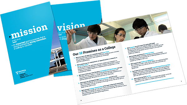 The front cover, back cover, and an interior spread from Worthing College's A4 'mission and vision' booklet.
